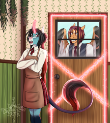 Size: 2865x3196 | Tagged: safe, artist:blackblood-queen, oc, oc only, oc:annie belle, oc:sunstreak, anthro, dracony, dragon, hybrid, pegasus, pony, unicorn, anthro oc, apron, clothes, crossed arms, digital art, door, fangs, female, glasses, glowing horn, gritted teeth, hair bun, horn, leonine tail, magic, male, mare, pegasus oc, scar, slit eyes, stallion, story in the source, unicorn oc, window, wings