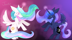 Size: 1500x850 | Tagged: safe, artist:junko, derpibooru exclusive, princess celestia, princess luna, alicorn, pony, arm fluff, aura, big ears, bipedal, chest fluff, colored lineart, cute, cutelestia, digital art, duo, duo female, ear fluff, ethereal mane, eyelashes, female, full body, glow, gradient background, lunabetes, magic, magic aura, paint tool sai, profile, profile view, rearing, royal sisters, royalty, shiny, simple background, space mane, sparkles, spread wings, standing, standing up, starry mane, wings