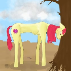 Size: 1080x1080 | Tagged: safe, artist:starly_but, apple bloom, earth pony, pony, cloud, cutie mark, dead tree, female, mare, older, older apple bloom, starving, the cmc's cutie marks, tree