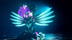 Size: 3840x2160 | Tagged: safe, artist:phoenixtm, oc, oc:phoenix stardash, cyborg, dracony, dragon, hybrid, pony, 3d, cute, cyborg dracony, dracony alicorn, happy, looking at camera, sitting, spread wings, unreal engine, weapons-grade cute, wings