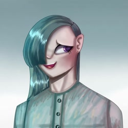 Size: 1080x1080 | Tagged: safe, artist:venera___o, marble pie, human, bust, clothes, female, gradient background, hair over one eye, humanized, lipstick, solo