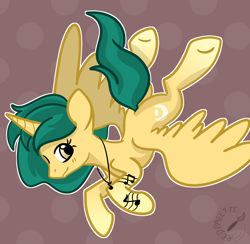 Size: 1200x1173 | Tagged: safe, artist:redpalette, oc, oc only, alicorn, pony, alicorn oc, cute, female, flying, horn, jewelry, mare, necklace, ocbetes, smiling, wings