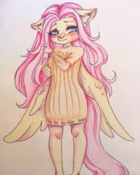 Size: 1080x1350 | Tagged: safe, alternate version, artist:mayguay, fluttershy, anthro, pegasus, clothes, colored, dress, ear fluff, female, solo, traditional art