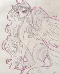 Size: 1080x1350 | Tagged: safe, artist:mayguay, oc, oc only, oc:luciana, alicorn, pony, alicorn oc, ear fluff, female, horn, lineart, mare, raised hoof, solo, traditional art, wings