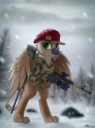 Size: 2880x3870   Tagged: safe, artist:av-4, artist:avastin4, oc, griffon, ar15, arctic warfare, camouflage, gun, rifle, sniper rifle, snow, solo, standing, weapon, wings