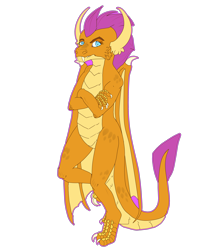 Size: 3900x4600 | Tagged: safe, artist:sashakruchkinatv, smolder, dragon, claws, crossed arms, dragoness, fangs, female, simple background, solo, transparent background
