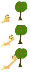 Size: 1452x3384 | Tagged: safe, artist:renaar, applejack, earth pony, absurd resolution, apple, apple tree, comic, cowboy hat, female, food, hairband, hat, laying on ground, long neck, lying down, reaching, resting, simple background, solo, squatpony, stare, transparent background, tree, white background