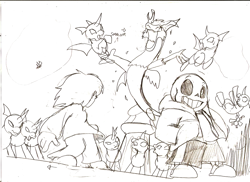 Size: 1263x918 | Tagged: safe, artist:droll3, discord, changeling, draconequus, army, crossover, frisk, monochrome, sans (undertale), sketch, traditional art, undertale