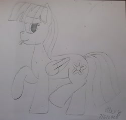 Size: 3088x2926 | Tagged: safe, artist:lightningdash3804, blossomforth, pegasus, pony, :p, monochrome, solo, tongue out, traditional art