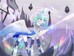 Size: 4096x3112 | Tagged: safe, artist:白乌鸦之翼, oc, alicorn, crystal pony, alicorn oc, horn, wings