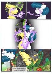 Size: 3336x4776 | Tagged: safe, artist:tillie-tmb, oc, oc only, oc:meadow lark, oc:tempest, earth pony, pony, unicorn, comic:the amulet of shades, female, magic, mare
