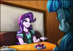 Size: 1600x1110 | Tagged: safe, artist:jenndylyon, sonata dusk, starlight glimmer, human, equestria girls, beanie, clothes, cover art, fanfic, fanfic art, fanfic cover, hat, present, table