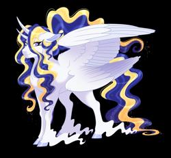 Size: 2607x2414 | Tagged: safe, artist:gigason, princess celestia, princess luna, alicorn, bicorn, pony, seraph, seraphicorn, fusion, horn, multiple horns, multiple wings, simple background, solo, transparent background
