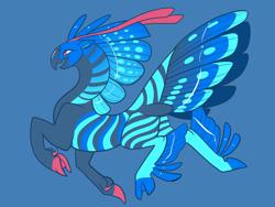 Size: 2800x2100 | Tagged: safe, artist:loryska, oc, hybrid, blue background, magical lesbian spawn, offspring, parent:queen novo, parent:zecora, simple background, solo