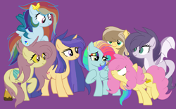 Size: 3097x1915 | Tagged: safe, artist:circuspaparazzi5678, li'l cheese, oc, oc:amethyst, oc:galaxy shield, oc:honey sweets, oc:kristina hooves, oc:lightning blitz, oc:rainbow blitz, dracony, dragon, earth pony, hybrid, pegasus, pony, unicorn, base used, canon and oc, deer leg, dragon wings, ear piercing, earring, hairclip, interspecies offspring, jewelry, multicolored hair, next generation, offspring, parent:applejack, parent:caramel, parent:cheese sandwich, parent:discord, parent:flash sentry, parent:fluttershy, parent:pinkie pie, parent:rainbow dash, parent:rarity, parent:soarin', parent:spike, parent:twilight sparkle, paws, piercing, rainbow hair, rainbow makeup, tooth, wings