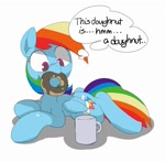 Size: 912x896 | Tagged: safe, artist:baigak, rainbow dash, pegasus, pony, captain obvious, cute, donut, female, food, mare, mouth hold, mug, simple background, solo, thought bubble, white background