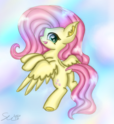 Size: 1194x1299 | Tagged: safe, artist:starflashing twinkle, fluttershy, pegasus, pony, :3, beautiful, butt, cloud, cute, cutie mark, flying, looking at you, open mouth, plot, solo, wings