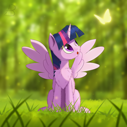 Size: 3000x3000 | Tagged: safe, artist:alexbefest, twilight sparkle, alicorn, butterfly, pony, chest fluff, cute, female, forest, grass, high res, looking up, mare, sitting, solo, spread wings, sun, twiabetes, twilight sparkle (alicorn), wings
