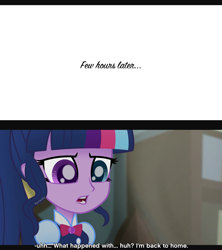 Size: 3120x3510 | Tagged: safe, artist:aryatheeditor, sci-twi, twilight sparkle, equestria girls, bowtie, comic, geode of telekinesis, heterochromia, jewelry, magical geodes, movie reference, outfit, pendant, powerful sparkle, solo, subtitles