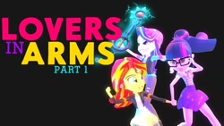 Size: 1024x576 | Tagged: safe, artist:lanceolleyfrie, sci-twi, starlight glimmer, sunset shimmer, twilight sparkle, series:lovers in arms, equestria girls, equestria girls series, 3d, beanie, black background, bowtie, clothes, female, geode of telekinesis, glasses, gmod, hat, holding hands, jacket, keyblade, kingdom hearts, leather jacket, lesbian, magical geodes, pants, ponytail, scitwishimmer, shipping, shirt, simple background, skirt, sunsetsparkle, torn clothes, vest, youtube link in the description, youtube thumbnail