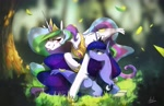Size: 4096x2650 | Tagged: safe, artist:anticular, princess celestia, princess luna, alicorn, pony, :p, book, chest fluff, cute, duo, female, forest, frown, grass, high res, leaves, leg fluff, lidded eyes, looking at each other, mare, ponyloaf, prone, royal sisters, scenery, siblings, sisters, smiling, tongue out, tree, unamused