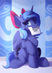 Size: 1250x1750 | Tagged: safe, artist:shadowreindeer, princess luna, alicorn, pony, bow, bronybait, card, chest fluff, cute, female, filly, hair bow, looking at you, lunabetes, mare, mouth hold, s1 luna, smiling, solo, woona, younger