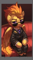Size: 1207x2215 | Tagged: safe, artist:luciferamon, spitfire, pegasus, pony, clothes, ear fluff, female, looking at you, mare, military uniform, sitting, solo