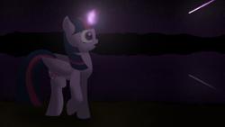 Size: 3840x2160 | Tagged: safe, artist:astralr, twilight sparkle, alicorn, pony, lake, magic, meteor, mountain, night, reflection, solo, stars, twilight sparkle (alicorn), walking