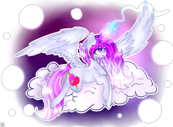 Size: 1150x848 | Tagged: safe, artist:shinningblossom12, oc, oc only, oc:anasflow maggy, oc:shining blossom, alicorn, pony, alicorn oc, cloud, female, fusion, glowing horn, horn, mare, on a cloud, simple background, solo, transparent background, wings