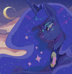 Size: 1320x1359 | Tagged: safe, artist:dummysquid, princess luna, alicorn, pony, bust, cloud, crescent moon, female, mare, moon, night, portrait, profile, sky, solo, stars