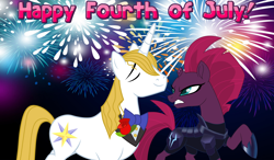 Size: 2064x1204 | Tagged: safe, fizzlepop berrytwist, prince blueblood, tempest shadow, 4th of july, annoyed, armor, arrogant, belligerent sexual tension, berryblood, bowtie, female, fireworks, glare, holiday, insulted, male, night, sexual tension, shipping, smug, straight, tempest shadow is not amused, this will end in pain, this will not end well, uh oh, unamused