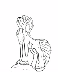 Size: 2000x2500 | Tagged: safe, artist:redquoz, oc, oc:red bark, original species, pony, atg 2020, bark, carapace, chest fluff, claws, enchanted, hooves, howling, leaning, lycan, newbie artist training grounds, paws, ponysona, solo