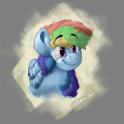 Size: 2000x2000 | Tagged: safe, artist:th3ipodm0n, rainbow dash, pegasus, pony, atg 2020, bust, eyebrows visible through hair, female, folded wings, mare, newbie artist training grounds, portrait, smiling, solo, three quarter view, wings