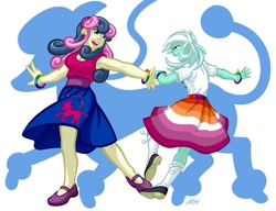 Size: 937x720 | Tagged: safe, alternate version, artist:texasuberalles, bon bon, lyra heartstrings, sweetie drops, equestria girls, bisexual, bisexual pride flag, bracelet, clothes, dancing, female, jewelry, lesbian, lyrabon, poodle skirt, pride, pride flag, shipping, shoes, smiling, socks