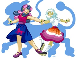 Size: 937x720 | Tagged: safe, artist:texasuberalles, bon bon, lyra heartstrings, sweetie drops, human, bisexual, bracelet, clothes, dancing, female, humanized, jewelry, lesbian, lyrabon, poodle skirt, pride, shipping, shoes, smiling, socks