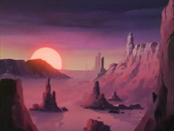 Size: 1440x1080 | Tagged: safe, screencap, my little pony 'n friends, the magic coins, desert, g1, no pony, scenery, sunrise