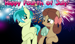 Size: 2064x1204 | Tagged: safe, artist:jhayarr23, edit, sandbar, yona, pony, she's all yak, 4th of july, blushing, couple, crossed hooves, cute, eye contact, female, fireworks, holiday, interspecies, looking at each other, magic, male, night, ponified, pony yona, raised hoof, sandabetes, shipping, species swap, straight, transformation, yonabar, yonadorable