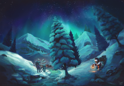 Size: 2500x1736 | Tagged: safe, artist:nemo2d, oc, oc only, hippogriff, pony, aurora borealis, lantern, mountain, night, north pole, scenery, scenery porn, snow, stars, tree