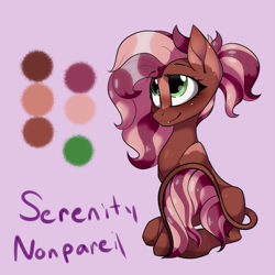 Size: 3333x3333 | Tagged: safe, artist:lux-arume, oc, oc only, oc:serenity nonpareil, earth pony, hybrid, pony, fangs, female, mare, solo