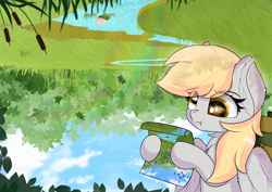Size: 5787x4092 | Tagged: safe, artist:janelearts, derpy hooves, pegasus, pony, :t, absurd resolution, chest fluff, confused, creek, derp, ear fluff, female, map, solo, upside down