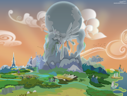 Size: 6144x4668 | Tagged: safe, artist:mycaro, princess celestia, alicorn, bird, pony, fanfic:celestia plays civilization, absurd resolution, canterlot, civilization, cloud, cloudsdale, crossover, crown, crystal empire, desert, epic, equestria, everfree forest, fanfic art, female, ghastly gorge, jewelry, manehattan, mare, mountain, ocean, planet, ponified, ponyville, regalia, river, show accurate, spread wings, statue, sunlight, sunrise, twilight's castle, waterfall, wings, wonderbolts