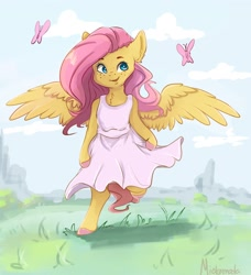 Size: 2406x2638 | Tagged: safe, artist:miokomata, fluttershy, butterfly, semi-anthro, chest fluff, clothes, cloud, colored hooves, cute, dress, ear fluff, female, high res, open mouth, shyabetes, solo