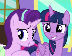 Size: 863x663 | Tagged: safe, screencap, starlight glimmer, twilight sparkle, alicorn, all bottled up, cropped, duo, smiling, twilight sparkle (alicorn)