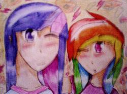 Size: 1748x1296   Tagged: safe, artist:sonicrainboom177, rainbow dash, twilight sparkle, human, animated, blushing, female, humanized, lesbian, shipping, traditional art, twidash, wind