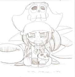 Size: 933x955   Tagged: safe, artist:droll3, earth pony, pony, anchor, crossover, female, filly, guilty gear, may, monochrome, pirate, simple background, sketch, traditional art, white background, xrd