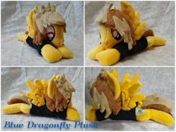 Size: 900x675 | Tagged: safe, artist:bluedragonflyplush, pegasus, pony, alex gaskarth, all time low, clothes, commission, irl, male, photo, plushie, ponified, prone, shirt, solo, stallion, t-shirt, tail feathers, wings