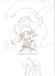 Size: 931x1280   Tagged: safe, artist:droll3, diamond tiara, silver spoon, earth pony, pony, anchor, crossover, female, filly, guilty gear, may, monochrome, pirate, ponified, simple background, sketch, traditional art, white background, xrd