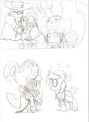Size: 931x1280   Tagged: safe, artist:droll3, apple bloom, pipsqueak, scootaloo, sweetie belle, earth pony, human, pegasus, pony, unicorn, anchor, comic, crossover, female, filly, guilty gear, may, monochrome, pirate, ponified, simple background, sketch, traditional art, white background, xrd