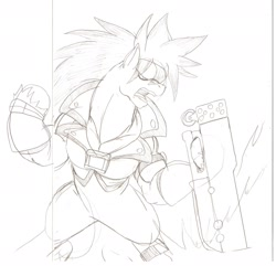 Size: 1280x1232 | Tagged: safe, artist:droll3, earth pony, pony, crossover, guilty gear, monochrome, ponified, simple background, sketch, sol badguy, steel, traditional art, weapon, white background, xrd