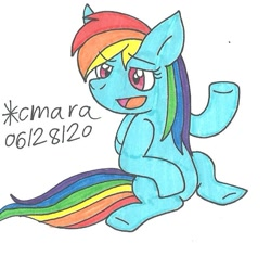 Size: 788x745 | Tagged: safe, artist:cmara, rainbow dash, pegasus, pony, female, mare, sitting, solo, traditional art